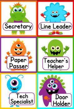 Monster Themed Classroom Materials Pack - Pack includes: * Alphabet A to Z * 6 Binder Covers * Cute Monster Classroom Jobs Display * Birthday Poster * Birthday Monsters and Month Headers * Calendar Title, Month Headers, and 3 patterned date sets * Grouping Cards * 11 Name Tag Designs for early and upper elementary * 10 Seasonal Mini-Notes - fall, Halloween, Thanksgiving, Christmas, etc