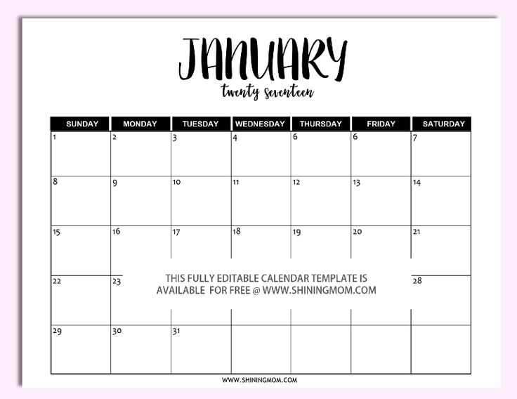 Free editable 2017 calendar in Microsoft Word!                                                                                                                                                                                 More