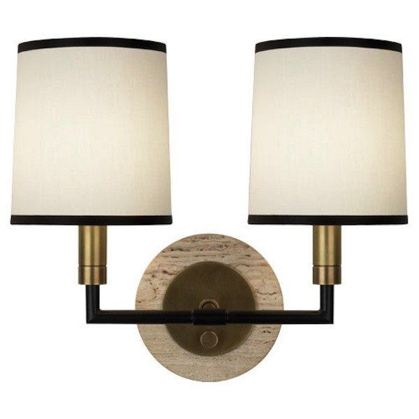 Pair of Brass and Marble Double Wall Sconces