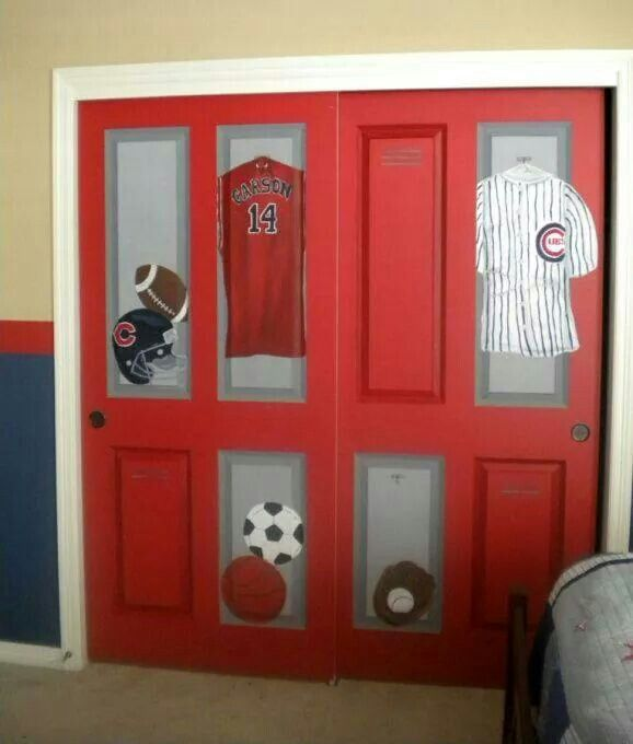 Closet Lockers For A Kids Baseball Room! Love This Idea