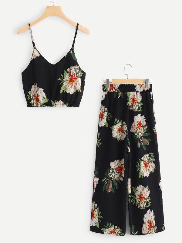 Conjunto de camisola corta con flor al azar y pantalones anchos -Spanish SheIn(Sheinside)