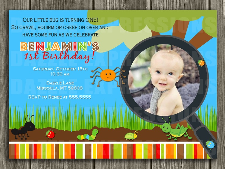 Bug Birthday Invitation  FREE thank you card by DazzleExpressions, $15.00