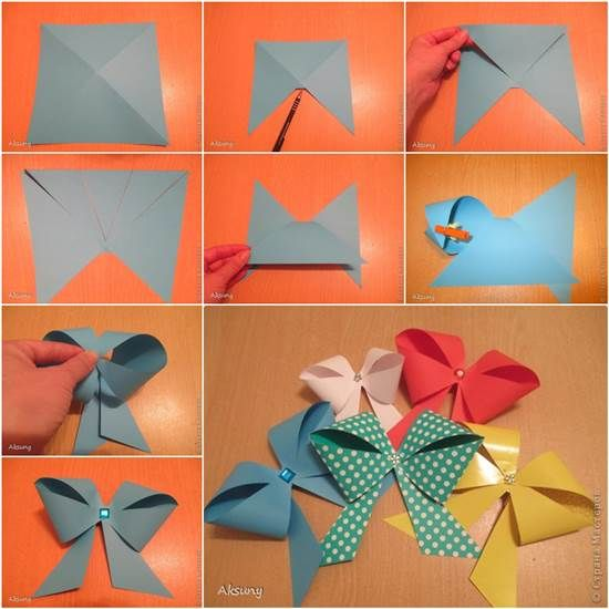 Make a beautiful paper bow for gift packing in an easy way   http://handmade-ideas.com
