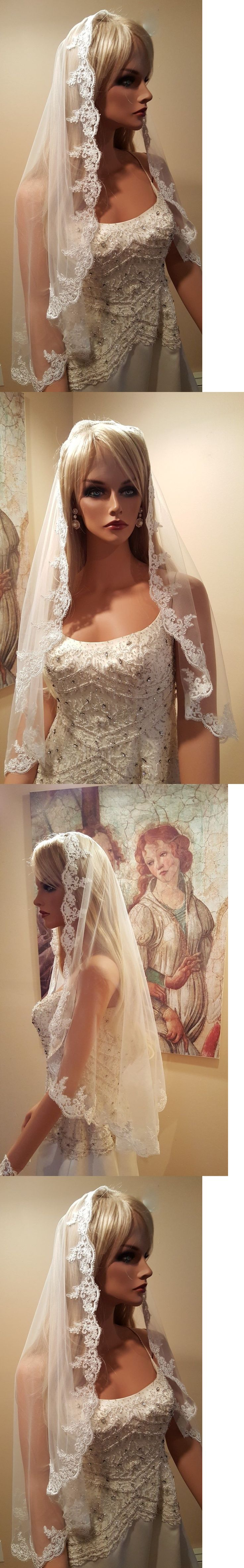 Bridal Accessories: Bridal Mantilla Hip Length Veil / Wedding Mantilla Veil / White , Light Ivory BUY IT NOW ONLY: $34.5
