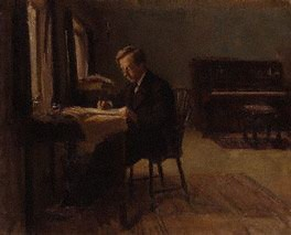 Gustav Holst  by Millicent Woodforde  oil on canvas, 1910  17 in. x 21 in. (432 mm x 533 mm)  Given by the sitter's widow and daughter, Mrs Gustav Holst and Miss I. Holst, 1962    © National Portrait Gallery, London