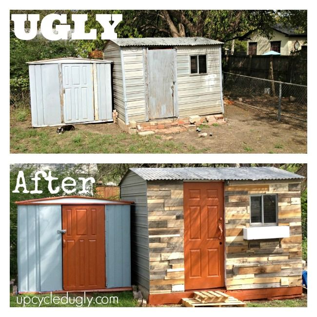 Use reclaimed materials to makeover ugly garden sheds.