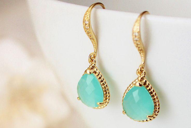 Dream Island Jewellery @ Etsy, Mint Green Gold Earrings ($35.59)
