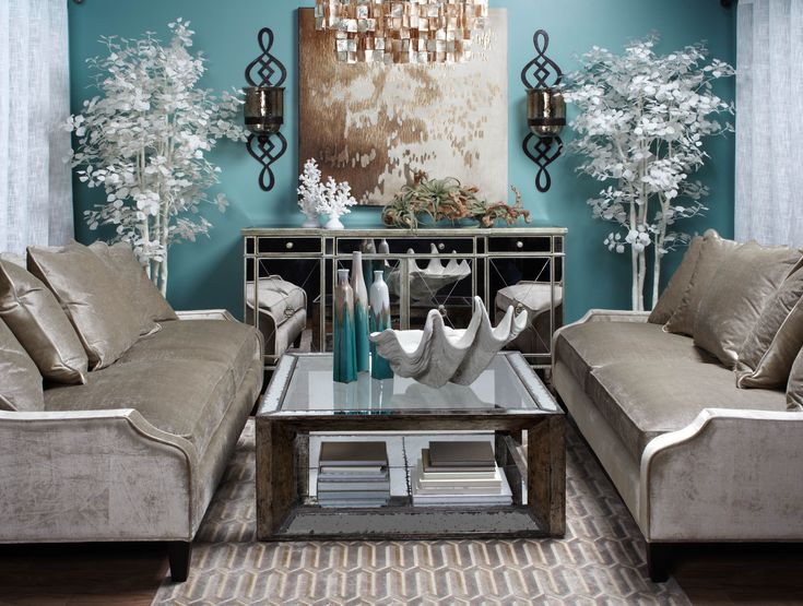 Calming coastal chic living room inspired by tranquil spa colors.