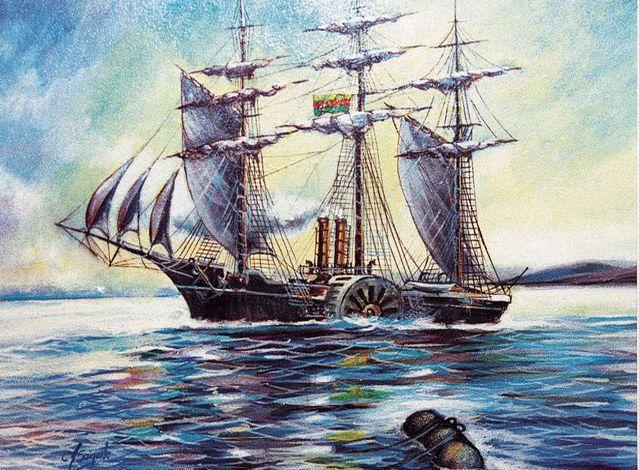 Pintura del guardacostas 'General Sucre' que era parte de la Armada boliviana antes de la guerra del pacífico. El cuadro se encuentra en el Museo de Historia Militar, en la plaza Murillo.
