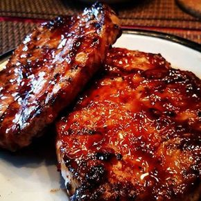 Ingredients  1/4 + 1/8 cup honey  3 tbsp soy sauce  6 cloves garlic, minced  6 pork loin chops, boneless, trimmed of excess fat, 4 oz each    Directions  In a shallow dish, whisk together honey, soy sauce and garlic.  Coat chops in mixture.  Reserve