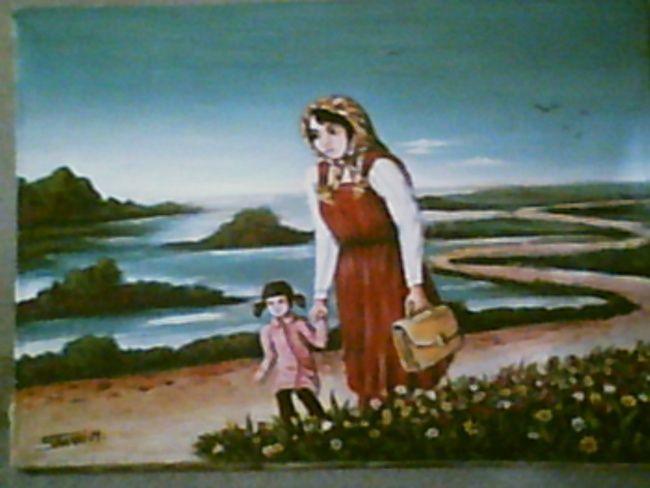 la femme et l ecole - Painting,  47x54 cm ©2008 by Mohamed Sakhri -