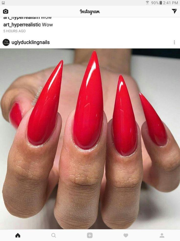 Red Stiletto nails