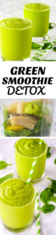 Green Smoothie Detox spinach, pineapple, banana, avocado, almond milk and ginger #weightlossrecipes #weightloss #vegan #gluten-free #detox