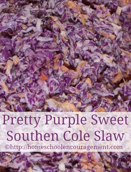 Pretty Purple Sweet Southern Coleslaw (Using Produce) from #Homeschool Encouragement