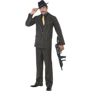 Buy online your 1920s mens costume, the Gold Pinstripe Gangster Costume from our online costume store!