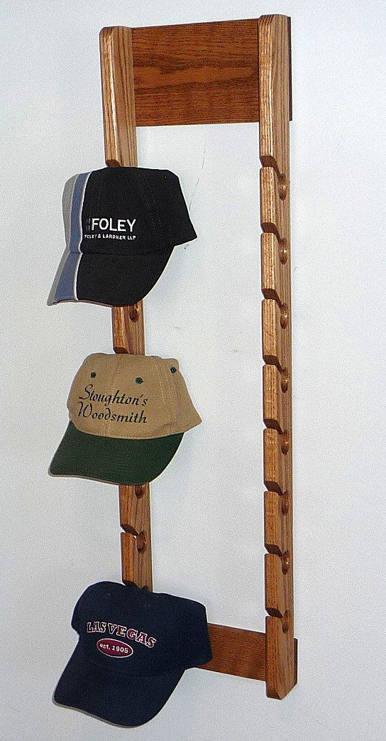 horizontal baseball hat rack solid oak double cap rack