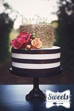 Gold sequins, black and white stripes, colorful sugar flowers... swoon!   NashvilleSweets.com