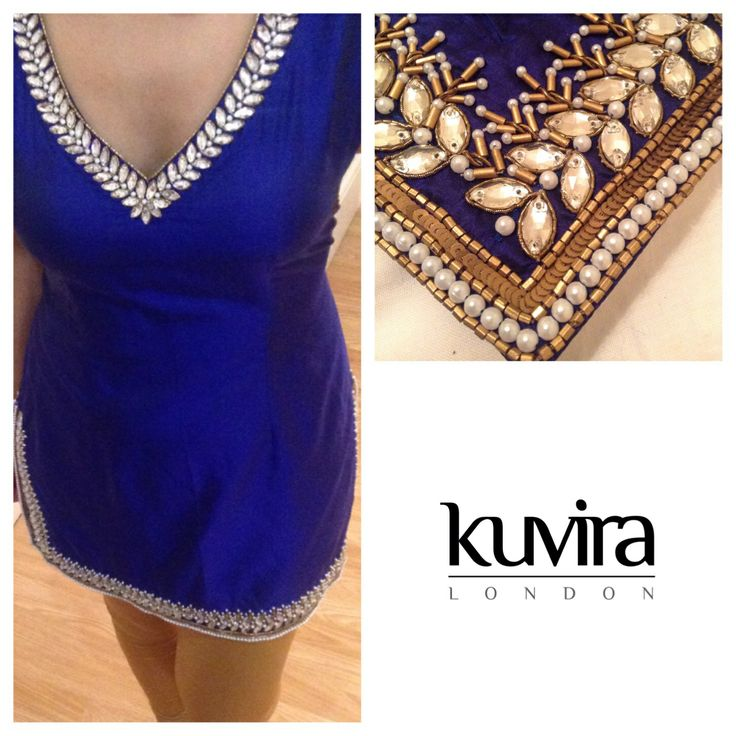 Blue glass Kundan Kameez with churidar