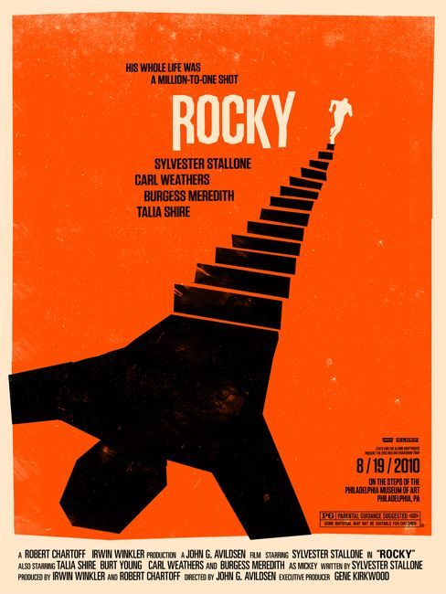 Rocky - Cool movie posters: Olly Moss, Minimalist Movie Posters, Picture-Black Posters, Saul Bass, Rocky, Posters Design, Ollymoss, Graphics Design, Film Poster