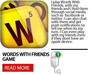 This application lets you play scrabble with Facebook friends and random people over the interent. It has the classic scrabble feel and the controls are easy to use. It keeps the same rules as the classis scrabble board game, any scrabble fan will like this game. http://www.theihospital.com/reviews/applications/words-with-friends
