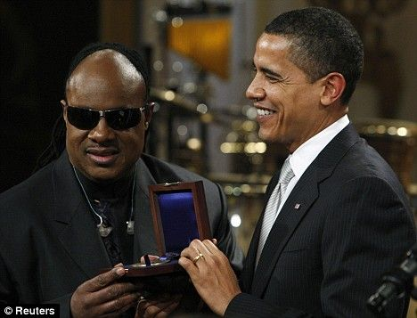 Stevie Wonder with  Barack Obama | ... never married my wife without Stevie Wonder's help, jokes Barack Obama
