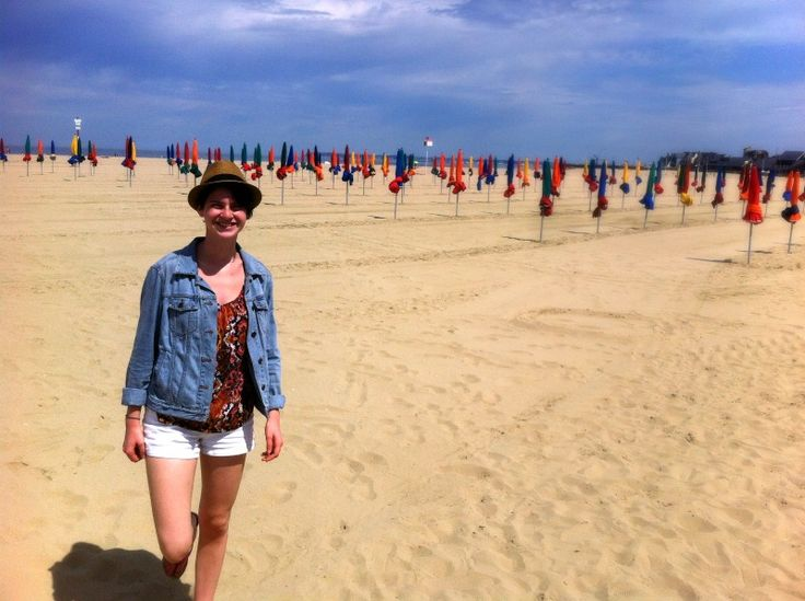 Alycia discovers the beach at Dauville, France.