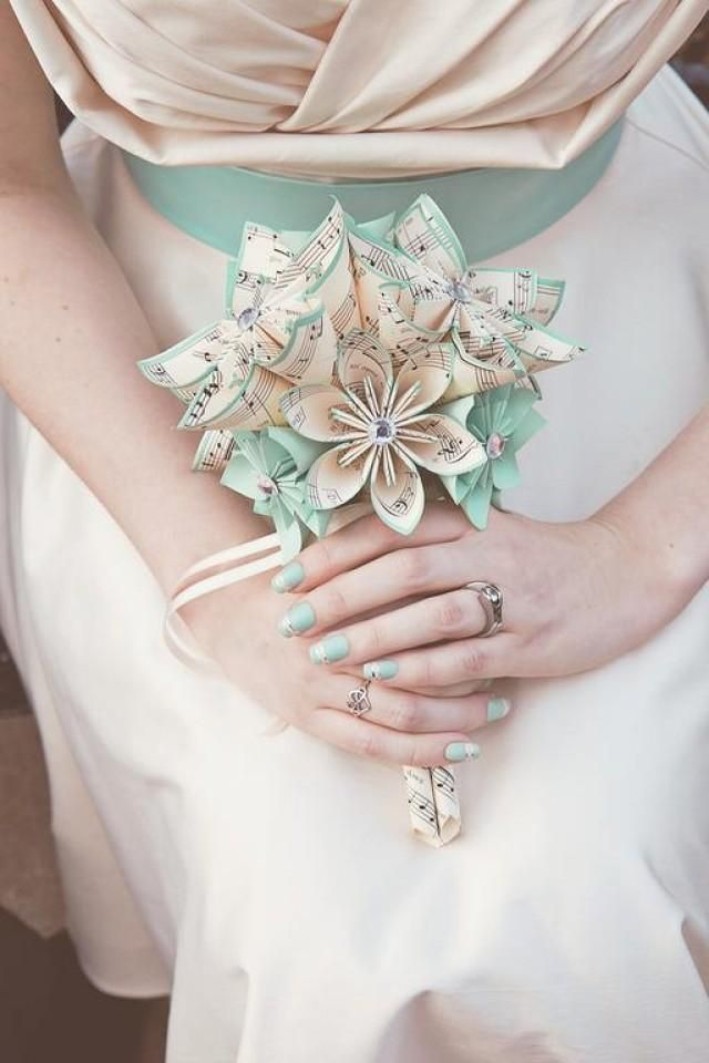Handmade Sheet Music Bridal Bouquet- 9 inch, 16 flowers, Custom, Origami, wedding party, bridesmaid, one of a kind, made to order