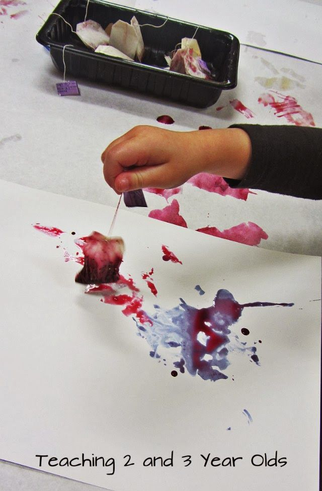 "Painting with Tea Bags from Teaching 2 and 3 Year Olds ("",)"