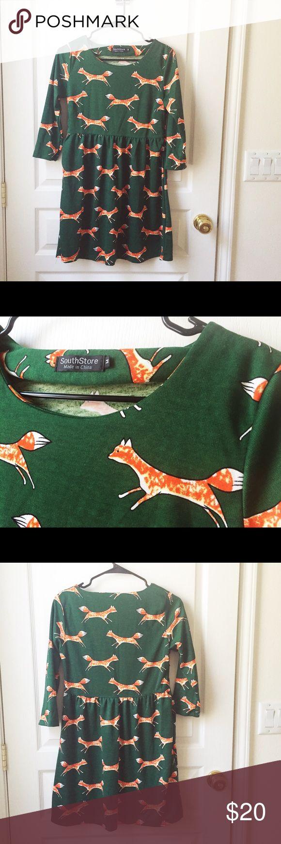 Selling this Fox dress tunic green woodland print hipster on Poshmark! My username is: wanderlust83. #shopmycloset #poshmark #fashion #shopping #style #forsale #Dresses & Skirts