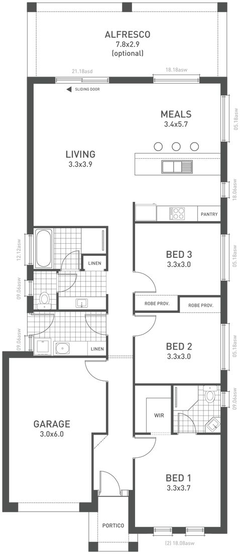 Design Twenty Two Floorplan - from the Weeks and Macklin Homes Affordable Series. A clever design for small blocks. #weeksmacklinhomes #floorplan #house