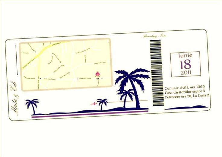 Plane ticket wedding reminder - travel theme  Nunta - tema: calatorii. Reminder bilet avion.