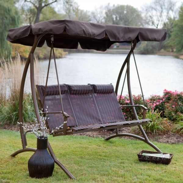 Solano 3 Person Textilene Canopy Swing with Headrests - Chocolate @ Walmart - for C&ground! & 11 best 9 Patio Swing Designs for your Backyard images on ...