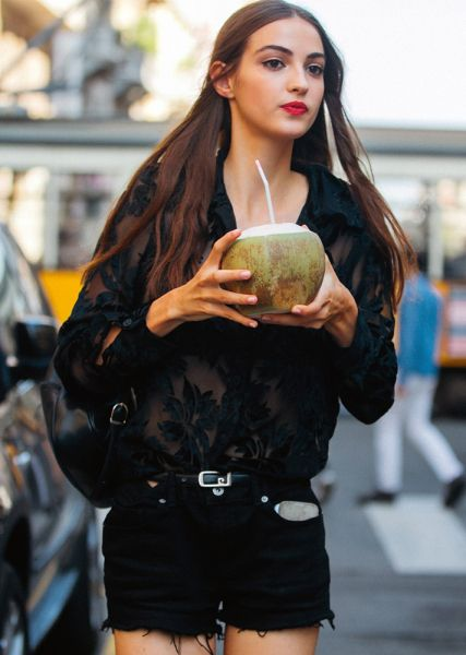 Street Style Guide To Wearing Black This Summer—Black long sleeve lace tip with black shorts