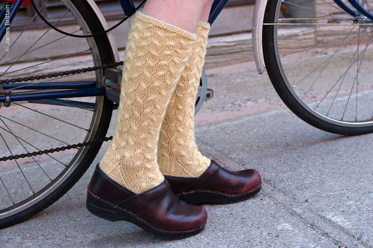 Beaded cabled knitted socks.  Free pattern