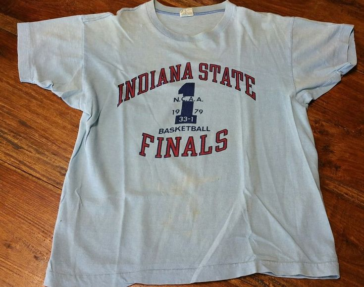 Indiana State Sycamores Basketball Finals NCAA 1979 Champion Blue Bar T-Shirt Lg #Champion #GraphicTee