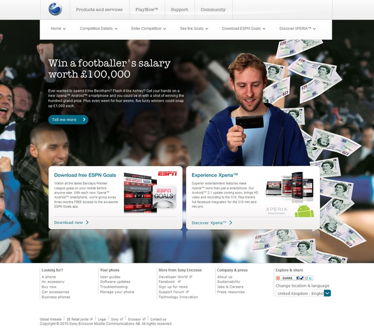 Experia - ESPN Goals Campaign - Home page