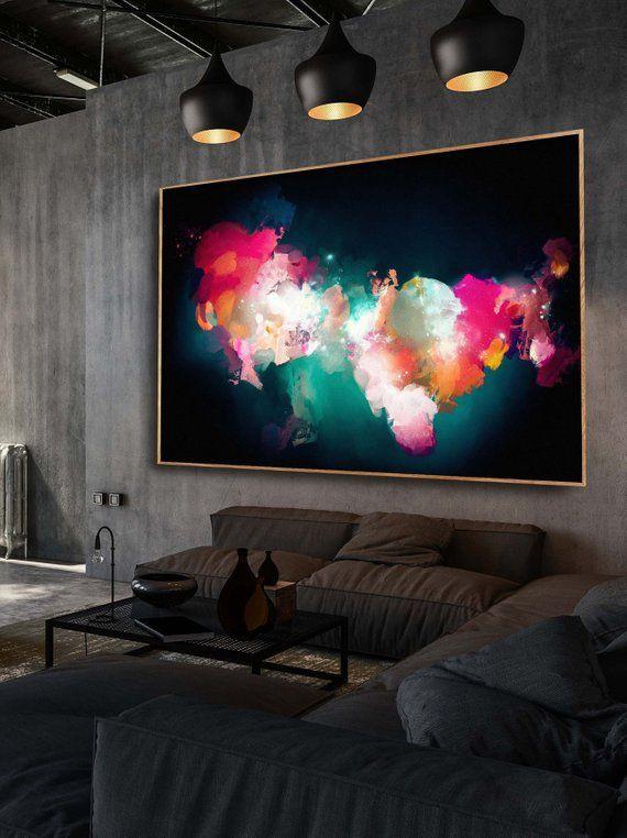 Large wall art giclee print , black blue pink abstract painting , large abstract painting print , giclee wall art – READY TO HANG