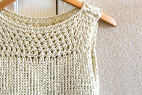 Easy Knit Summer Top by Mama in a Stitch - perfect for summer and a great project for beginners! Make it with LB Collection Cotton Bamboo!