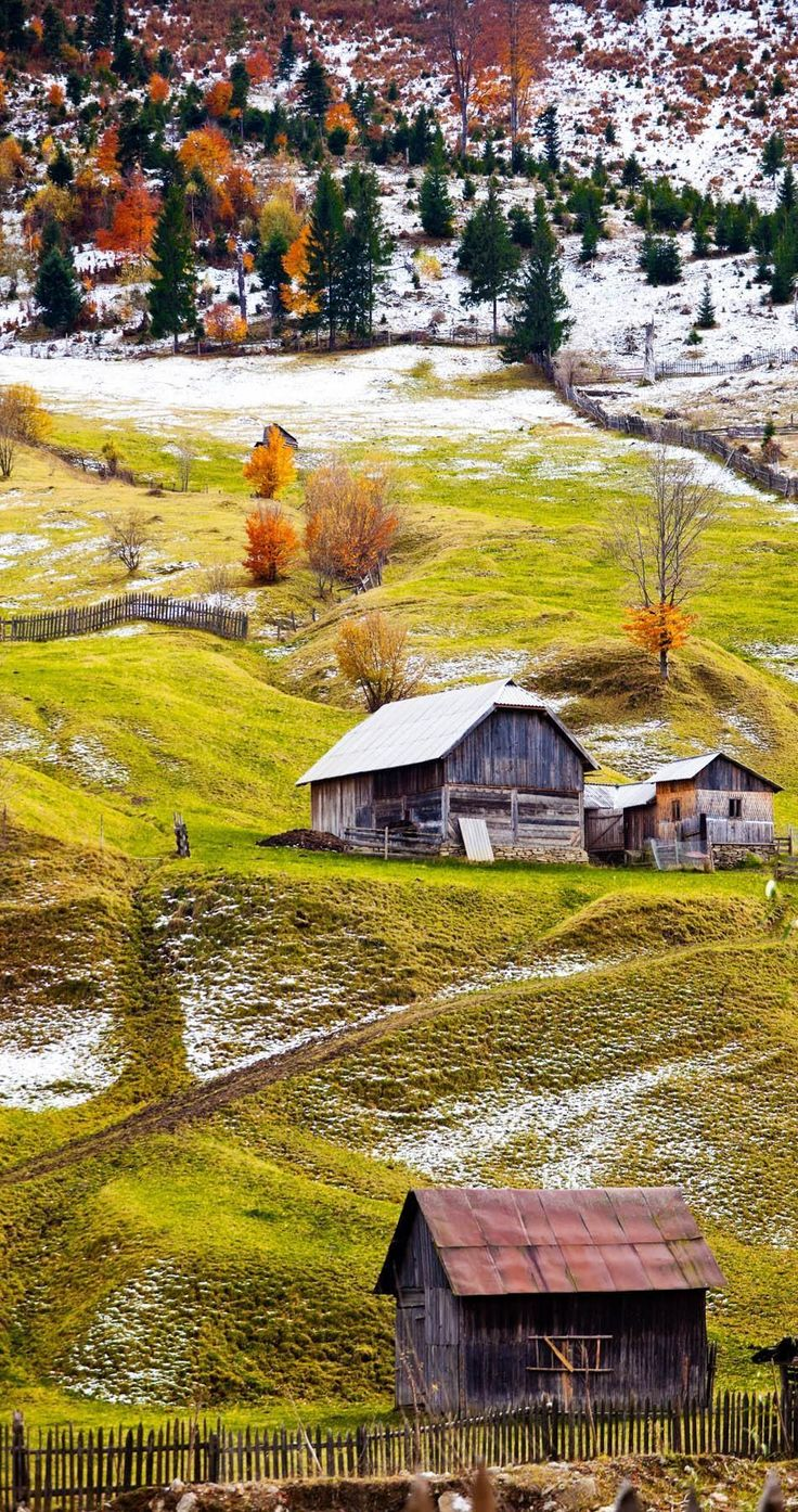 Beautiful landscape of the countryside of Romania in autumn. Maramures…