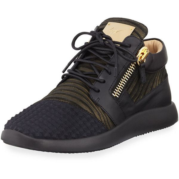 Giuseppe Zanotti Men's Metallic Neoprene & Leather Trainer Sneaker ($750) ❤ liked on Polyvore featuring men's fashion, men's shoes, men's sneakers, black, men's shoes sneakers, mens metallic shoes, giuseppe zanotti mens shoes, mens leather shoes, mens shoes and mens leather sneakers