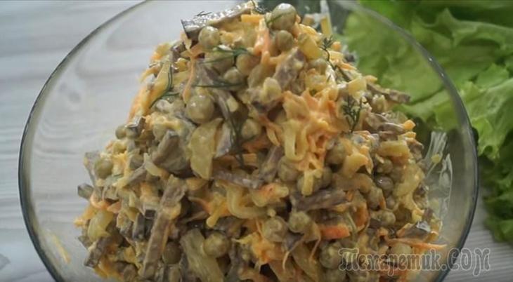 Печень в этом салате совсем по-новому проявляет свой вкус и в сочетании с овощами и специями создает невероятное по вкусу блюдо. Попробуйте сделать, вам точно понравится.ИНГРЕДИЕНТЫПечень говяжья – 0,...