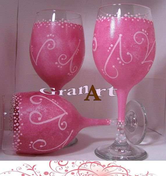 Bridesmaid Wine Glasses Pink Wine Glass Hand Painted by GranArt