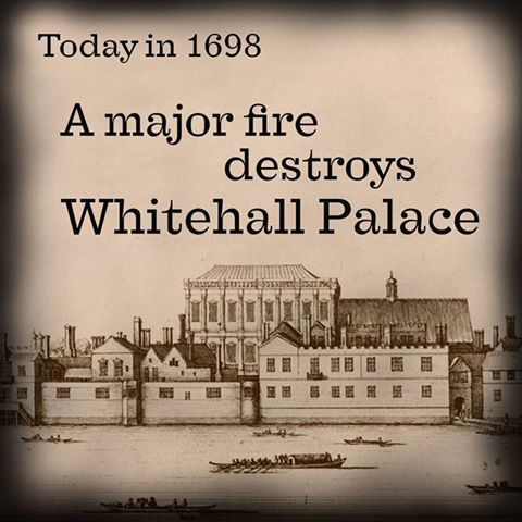 Jan 4th 1698 a major fire destroys Whitehall Palace, leaving only the Banqueting House behind. Whitehall was once the largest palace in Europe, made up of over 1,500 rooms across 23 acres. On 4 January 1698, some linen left to dry by a charcoal fire caught light and within five hours, almost all of the palace was destroyed.