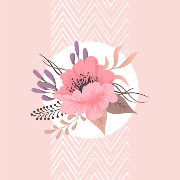 Floral Composition With Colorful Flower Pink Flowers Background Flower Doodles Flower Painting