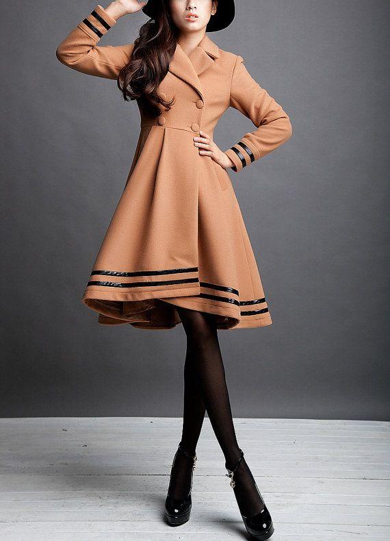Camel / Beige / Navy Blue wool women coat women fashion jacket long sleeve sleeve coat Apring Autumn Winter --CO102 on Etsy, $159.99