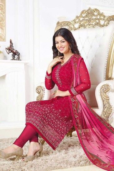 Georgette Churidar Suit With Printed Dupatta Pink Color - DMV15146