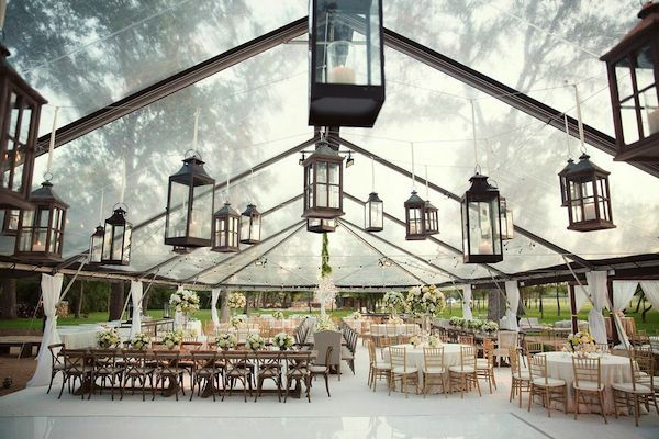 clear top tent with lanterns   Sarah Kate Photography