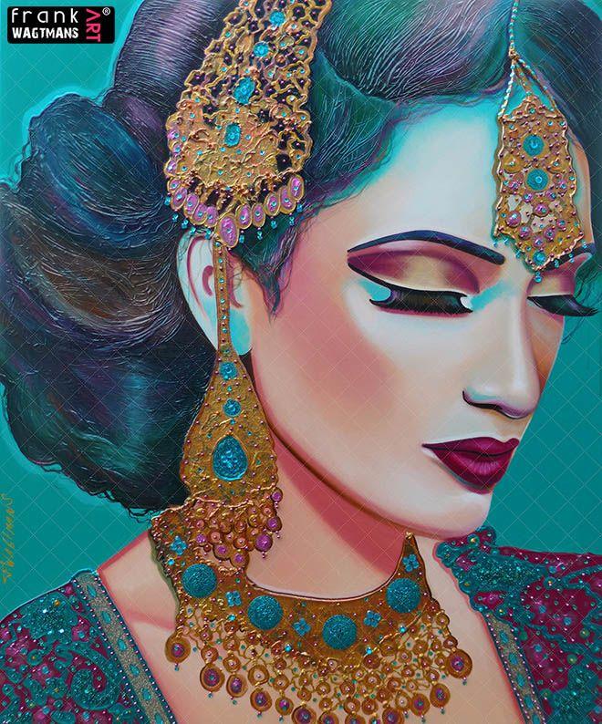 Blue Painting. Modern Artwork. Hand Painted Portrait.