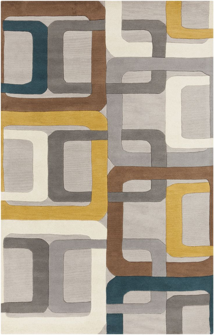 Surya Forum Fm-7159 Teal Blue Area Rug - Bright and bold Retro colors combined with dramatic linear designs give the rugs of the Forum Collection a unique style. Hand Tufted in India from 100% Wool these rugs are soft to the touch while still remaining exciting to the eyes. The vivid color...