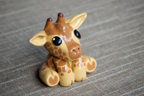 Handmade Polymer Clay Animal Giraffe by DeniseSoden on Etsy